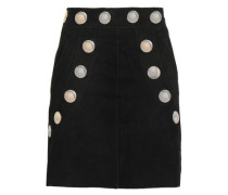 Studded Suede Mini Skirt Black