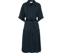 Belted Pleated Silk Midi Shirt Dress Navy