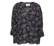 Chik Gathered Printed Voile Blouse Midnight Blue Size 1