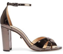 Alzira Metallic Patent-leather Sandals Gunmetal