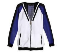 Mesh-paneled color-block jersey jacket