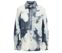 Frayed Bleached Denim Shirt Light Denim
