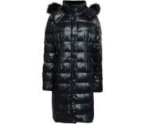 Woman Faux Fur-trimmed Quilted Shell Hooded Down Coat Black