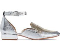 Moka metallic two-tone cracked-leather loafers