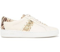 Woman Snake-effect-paneled Leather Sneakers Ivory