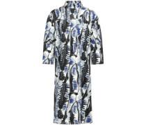 Woman Pleated Printed Cotton-poplin Dress Gray