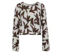 Tami Cropped Printed Cashmere Sweater Light Gray
