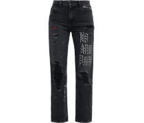 Embroidered Distressed High-rise Straight-leg Jeans Charcoal  5