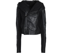 Paneled leather and ribbed-knit hooded biker jacket