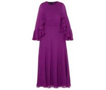Cape-effect Ruffled Silk-georgette Midi Dress Purple