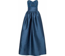 Strapless Embellished Tulle-paneled Satin-faille Gown Navy Size 12