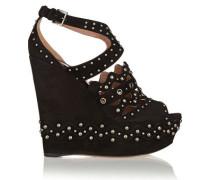 Studded Suede Wedge Sandals Black