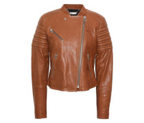 Quilted Leather Biker Jacket Light Brown
