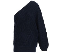 Orella One-shoulder Cable-knit Wool Sweater Midnight Blue