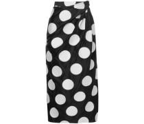 Gathered Polka-dot Satin-jacquard Midi Skirt Black
