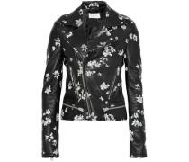 Phedra floral-print leather biker jacket