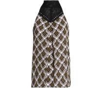 Crochet-paneled printed silk top