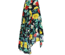 Asymmetric silk crepe de chine skirt