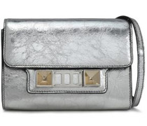 Ps11 Metallic Cracked-leather Shoulder Bag Silver Size --