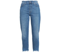 Josefina frayed cropped high-rise boyfriend jeans