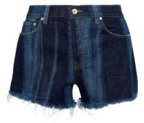 Drew Faded Frayed Denim Shorts Dark Denim  6