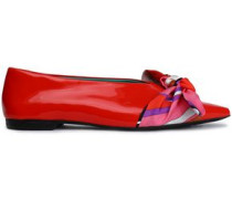 Bow-embellished patent-leather point-toe flats