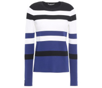 Striped Stretch-knit Sweater Black