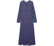 Woman Printed Crepe Maxi Dress Blue