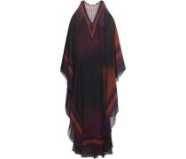 Cold-shoulder Draped Printed Silk-georgette Maxi Dress Burgundy