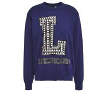 Printed Intarsia Cotton Sweater Navy