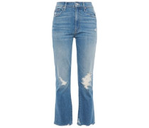 Woman The Tripper Distressed High-rise Kick-flare Jeans Light Denim