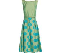 Pleated polka-dot satin-twill dress