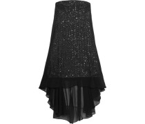Layered Sequined Chiffon Mini Dress Black Size 0