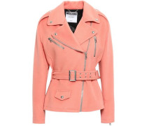 Belted Wool And Cashmere-blend Biker Jacket Peach