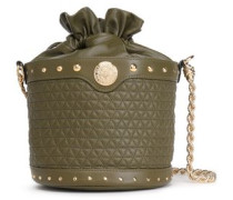Studded Quilted Leather Shoulder Bag Army Green Size --