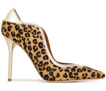 Woman Metallic Leather-trimmed Leopard-print Calf Hair Pumps Animal Print