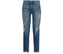 Distressed High-rise Straight-leg Jeans Light Denim  4