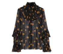 Ruffled Metallic Floral-print Silk-blend Georgette Blouse Black