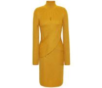 Woman Crossover Ribbed Wool-blend Turtleneck Mini Dress Mustard