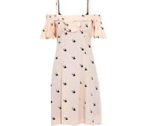 Cold-shoulder Ruffled Printed Crepe De Chine Dress Pastel Pink