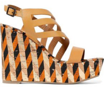 Veronica Cutout Leather And Printed Cork Wedge Sandals Tan