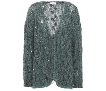 Woman Sequin-embellished Cable-knit Cardigan Teal