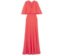 Cape-effect Silk-chiffon Gown Papaya