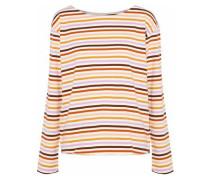 Mariniere Striped Cotton-jersey Top Pastel Orange