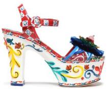 Embellished printed patent-leather platform sandals