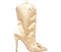 Woman Bow-embellished Satin Ankle Boots Cream