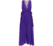 Ruffled Silk-georgette Midi Dress Violet