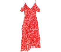 Cold-shoulder Ruffle-trimmed Devoré-organza Midi Dress Papaya