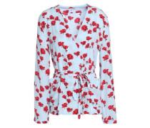 Mercer Wrap-effect Floral-print Washed-silk Blouse Sky Blue