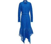 Everdale Asymmetric Belted Corded Lace Midi Dress Cobalt Blue